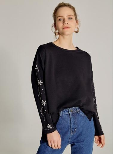 NGSTYLE Kolları Taş İşlemeli Sweatshirt Siyah